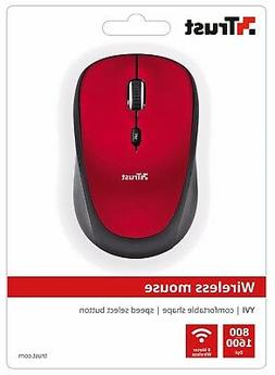 TRUST 19522 YVI RED WIRELESS 800/1600DPI MOUSE, SPEED BUTTON