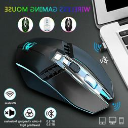 2.4G Wireless Bluetooth 5.0 Gaming Mouse Optical Mice 6 Colo
