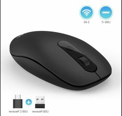 2.4G Wireless Mouse USB C Computer Cordless Mice with USB an