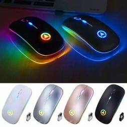 2.4GHz Wireless Optical Mouse USB Rechargeable RGB Cordless