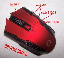 2.4Hz Red Wireless Gaming Mouse 1000dpi-1600dpi&USB Hub 2.0