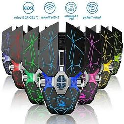 2400DPI Wireless LED Optical Gaming Mouse Mice Rechargeable