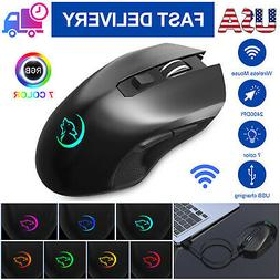 7 LED RGB Color 2.4GHz Wireless USB Gaming Mouse 2400DPI Erg