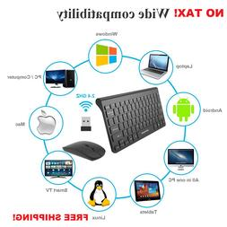 Wireless Keyboard Silent Mouse Combo Set For Mac Apple Pc Po