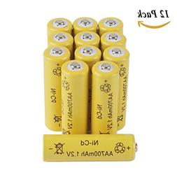 12-Pack AA Rechargeable Batteries 1.2V 700mAh Nicd Battery f