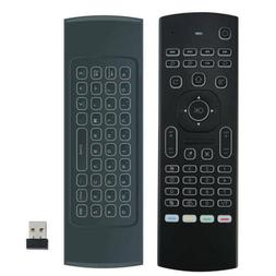 for Android UAB 2 4G Mini Keyboard MX3 Backlit Air Mouse Rem