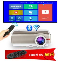 Android WiFi 1080P Home Cinema Projector Video 8000:1 Bundle