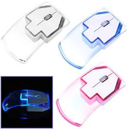 Colorful LED Light Transparent Wireless Mouse Optical Mice F