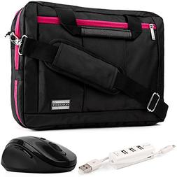 EL Prado 3-in-1 Hybrid Magenta Trim Laptop Bag w/ Wireless M