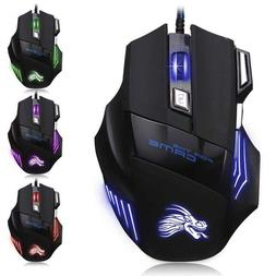 Gaming Mouse 7 Button USB Wired LED Breathing Fire Button 32
