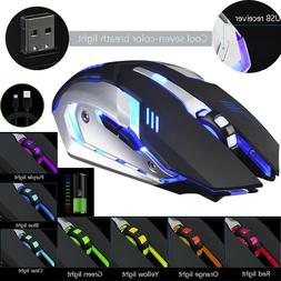 gaming mouse rechargeable x7 wireless silent led