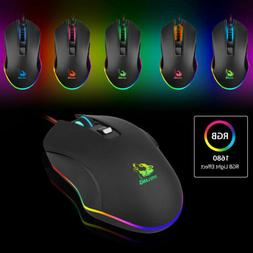Gaming Wired Mouse 3200DPI USB RGB Flowing Backlit Light PC