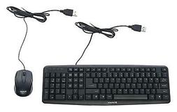 Keyboard And Mouse Corded Combo PC Computer USB Optical Wire