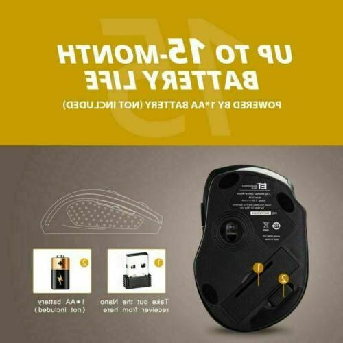 VicTsing 2.4GHz Cordless Optical Gaming Mouse USB For PC US