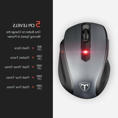 2.4GHz Cordless Optical Mouse Mice Receiver for Laptop DPI