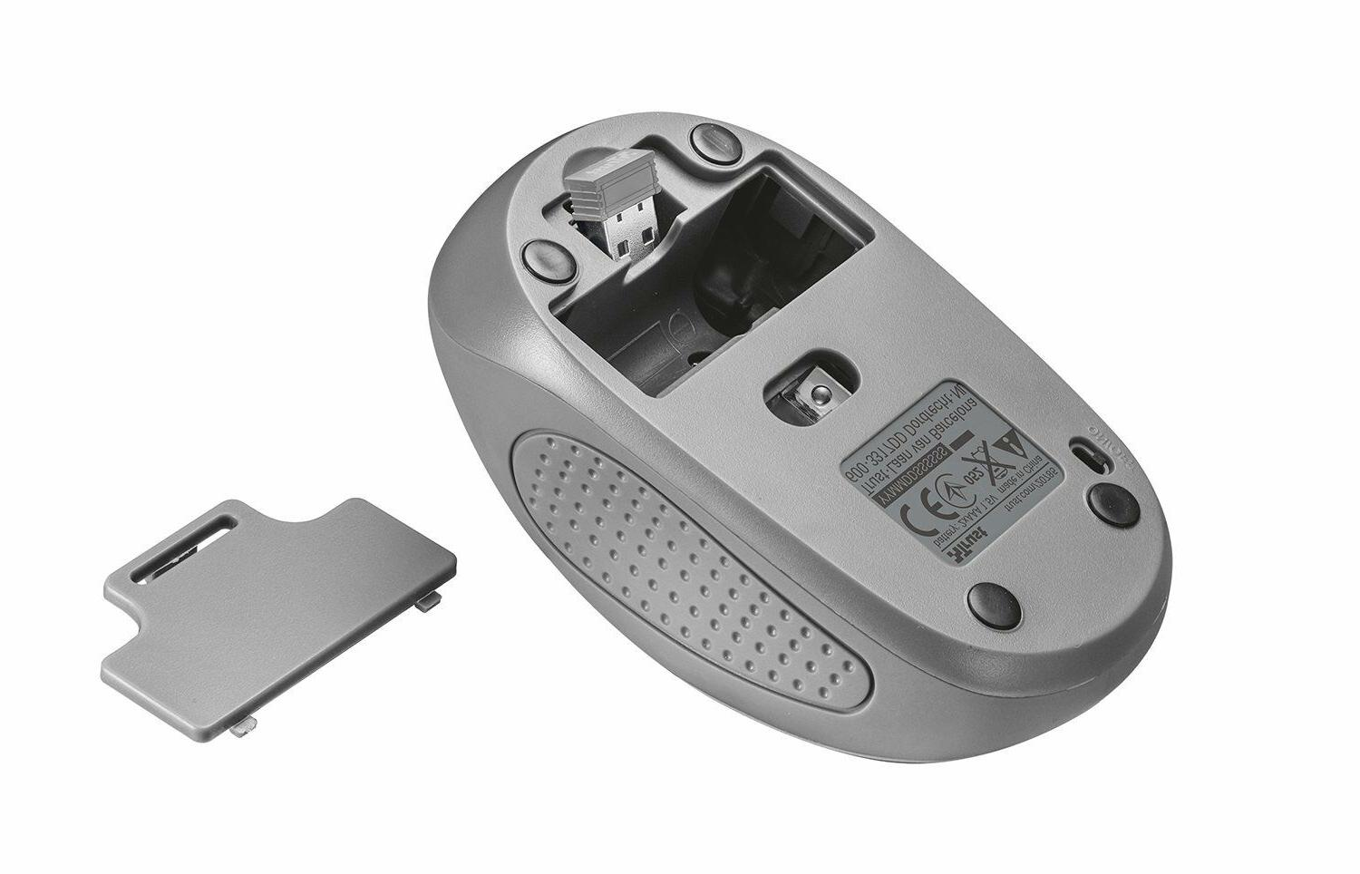Trust Primo Pocket Sized Wireless Mouse for Laptops, Grey
