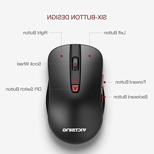 VicTsing 2nd Computer Mouse Adjustable DPI Levels, Optical USB Mouse Nano Buttons PC, Black