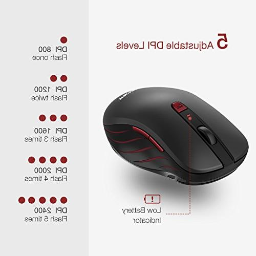 VicTsing Wireless Computer Mouse with Adjustable Optical USB with Nano Buttons PC,