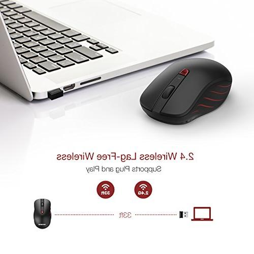 VicTsing Wireless Computer Mouse 5 Adjustable DPI Levels, Optical USB Mouse Nano USB Receiver, 6 Buttons for PC, Black