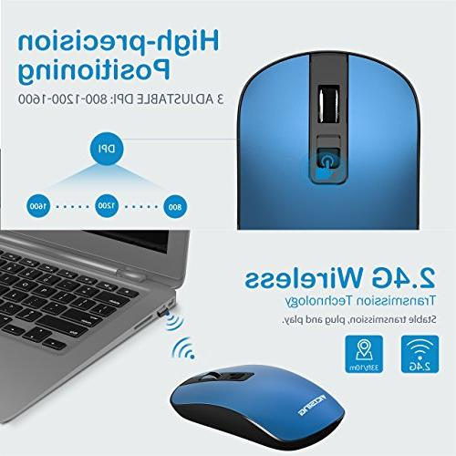 VicTsing 4-Button Slim Wireless Mouse,3 Levels,Silent with Nano Receiver Switch for PC, Computer