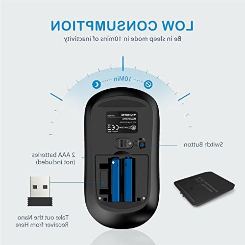VicTsing 4-Button Wireless Adjustable Levels,Silent Click Nano and ON-Off Switch Computer - Blue