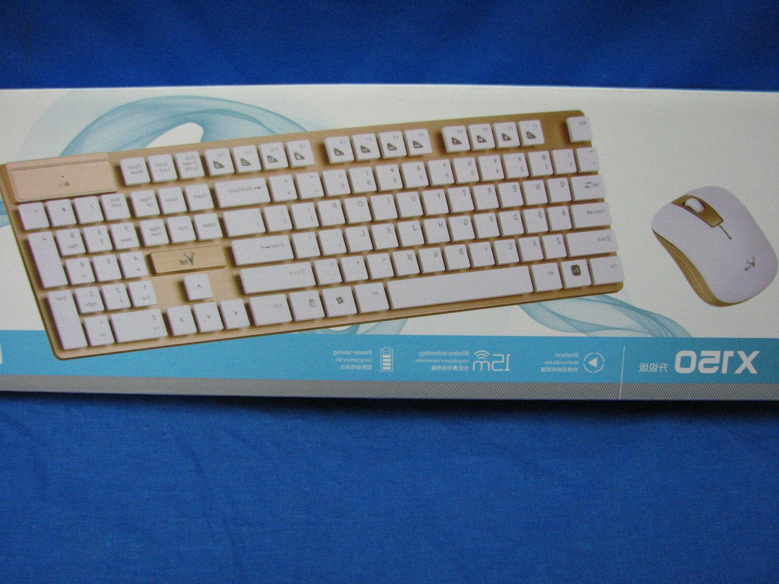 Srocker X150 GOLD Computer Keyboard & Mouse for PC or Mac