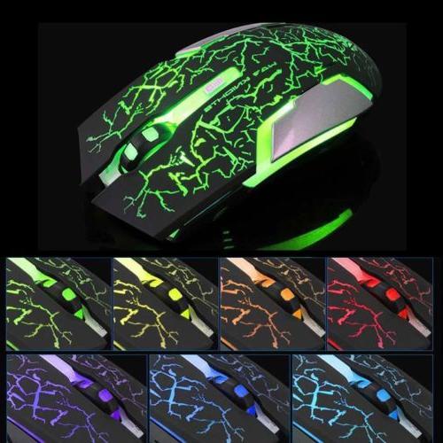Wireless Mouse 2.4GHz 1600 DPI Colorful LED Light Ergonomic