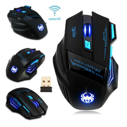 Zelotes Computer Gaming Mouse 2400 DPI 7 Button USB LED Ligh