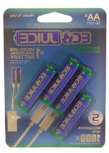 AA Batteries Micro USB Ni-MH Universal eco-Friendly 1000x Rechargeable Juice Micro-USB 4 Pieces