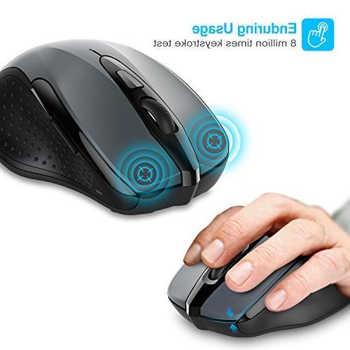 TeckNet 2600DPI Mouse, Battery Life Battery Indicator, 2600/2000/1600/1200/800DPI