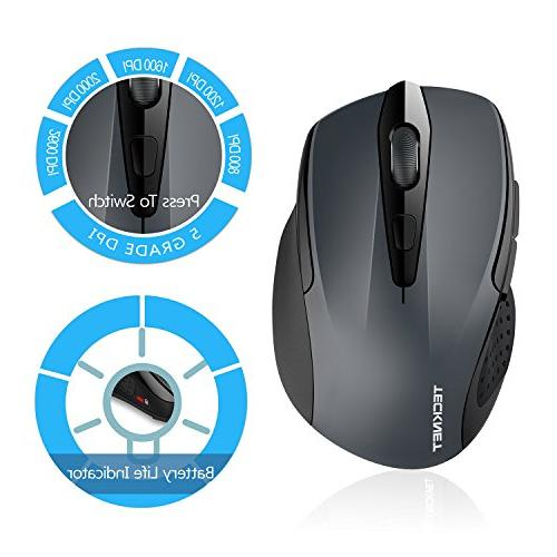 TeckNet 2600DPI Bluetooth Mouse, 24 Life with Battery Indicator, 2600/2000/1600/1200/800DPI