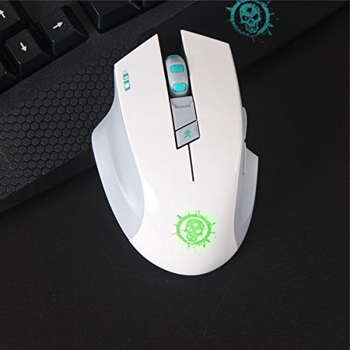 SROCKER 2.4GHz Wireless Silent Gaming Soundless Mouse USB Receiver, 3 Adjustable DPI, Buttons Four-color Luminous PC Mac
