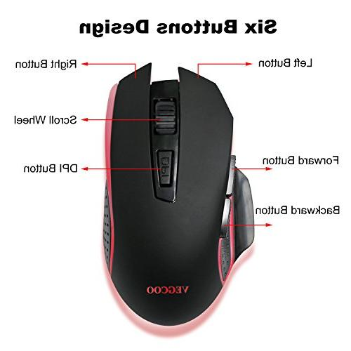VEGCOO Wireless Mouse, Silent Click With Buttons Computer Laptop Macbook