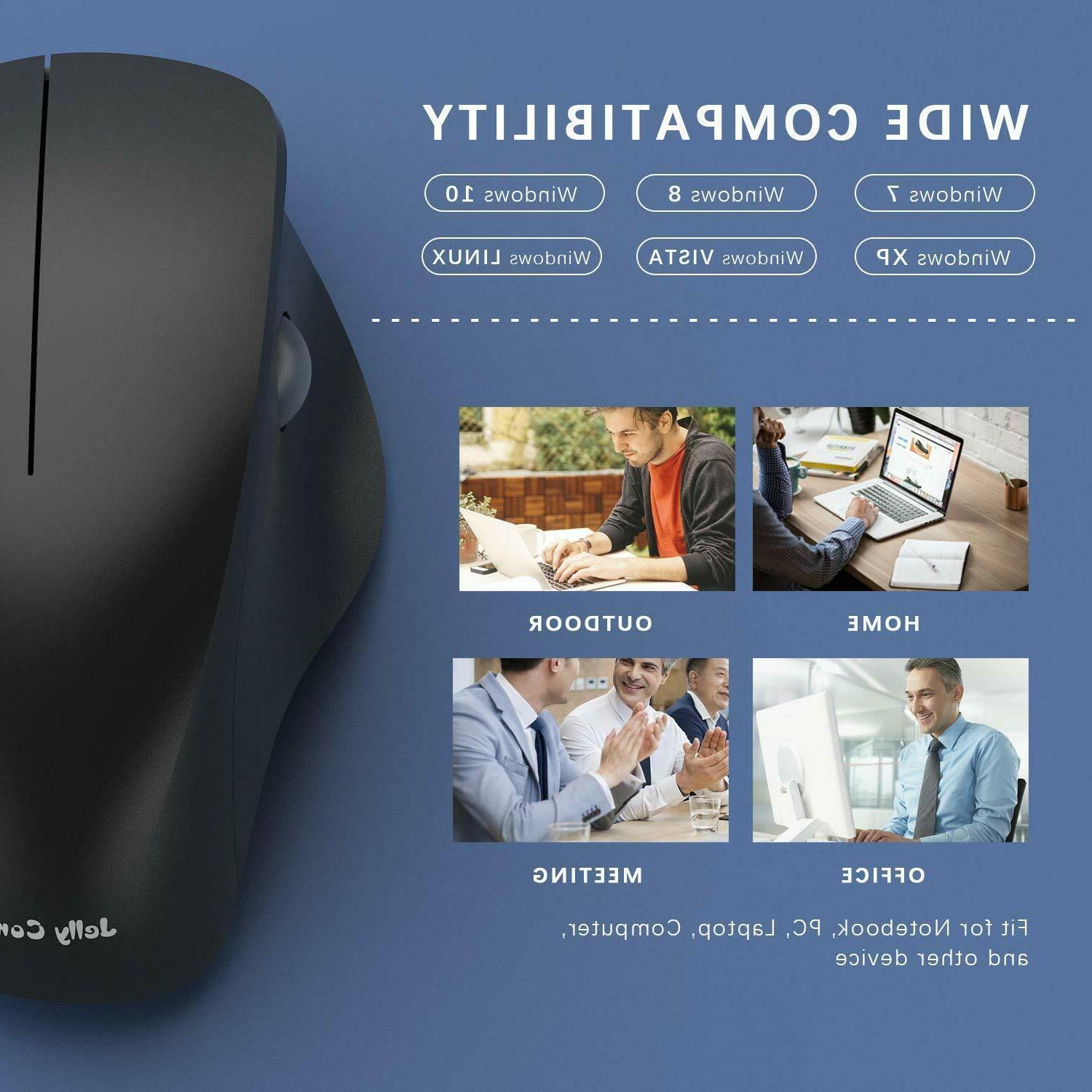 Ergonomic Wireless Mouse for Laptop, 2.4GHz