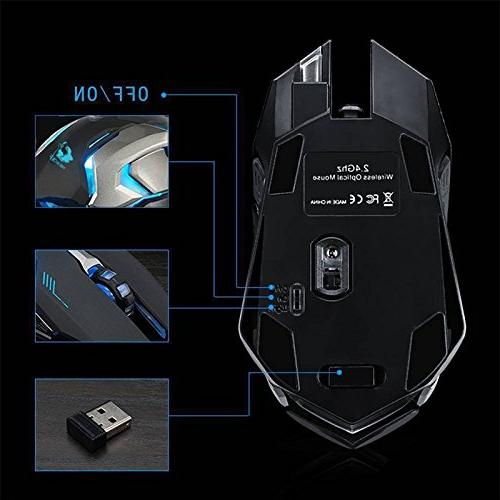 LED Laser Wireless Optical Gaming X7 High Resolution Mouse for Notebook, PC, MacBook by