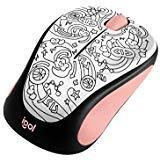 Logitech M317 Wireless Mouse - Pink Doodle Brainstorm Pink