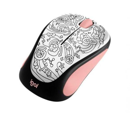 m317 wireless mouse pink doodle brainstorm 910