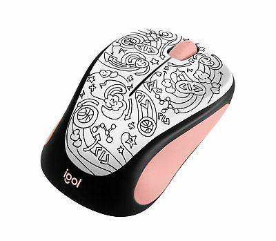 m317 wireless mouse pink doodle brainstorm pink