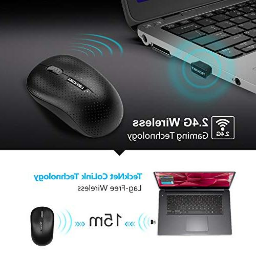 TeckNet Wireless Mouse with Receiver for Notebook, Laptop, Chromebook, MacBook, Life, Fit Hand