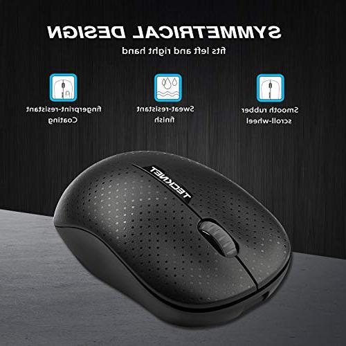 TeckNet 2.4G 3-Button Mini Mouse Nano Receiver for Notebook, Laptop, Computer, 1600 DPI, Life, Hand