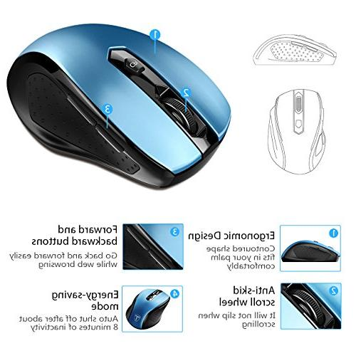 VicTsing MM057 2.4G Wireless Portable Mouse Mice with USB 5 DPI 6 Buttons PC, Computer Blue