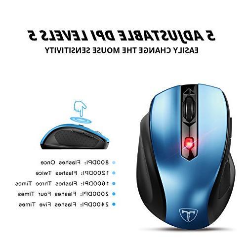 VicTsing Portable Mobile Mice 5 Adjustable 6 PC, Laptop, Computer Blue