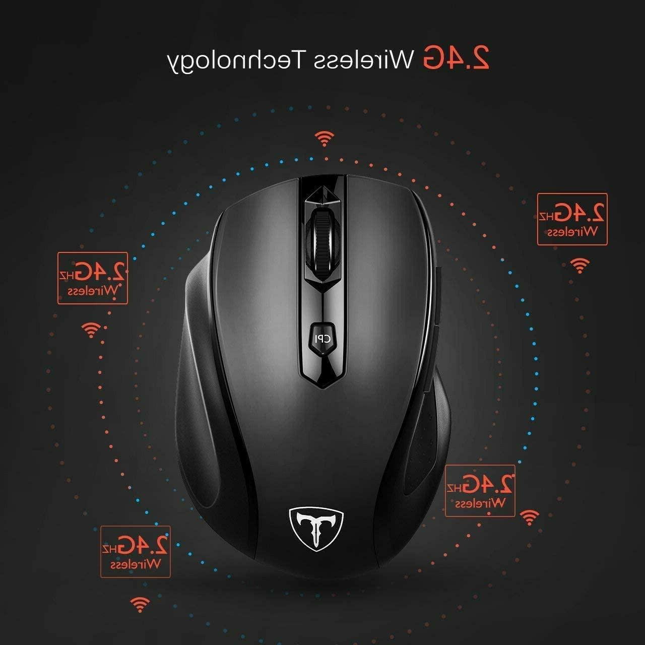 New Wireless Optical Mouse—Black, Adjustable DPI,
