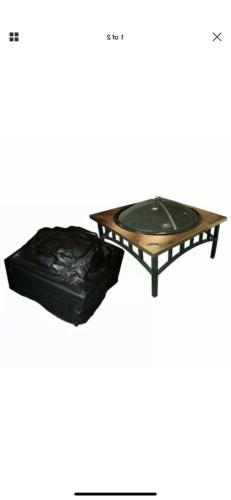 Fire Sense Outdoor Square Fire Pit Vinyl Cover, Black, 38W x