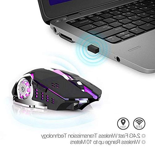 Rechargeable Gaming Bluetooth Computer 2.4G LED Changing Optical Silent, Auto Ergonomics 4 DPI, Laptop/PC/Notebook (Black