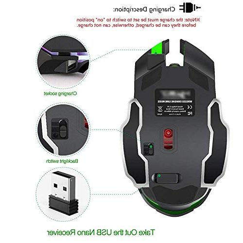 Rechargeable Mouse, Bluetooth 2.4G Color Optical Ergonomics Grip, DPI, Compatible (Black