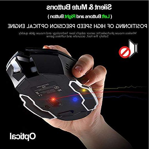 Rechargeable Wireless Bluetooth 2.4G Optical Sleeping, Ergonomics 4 Adjustable DPI, Compatible with Laptop/PC/Notebook (Black