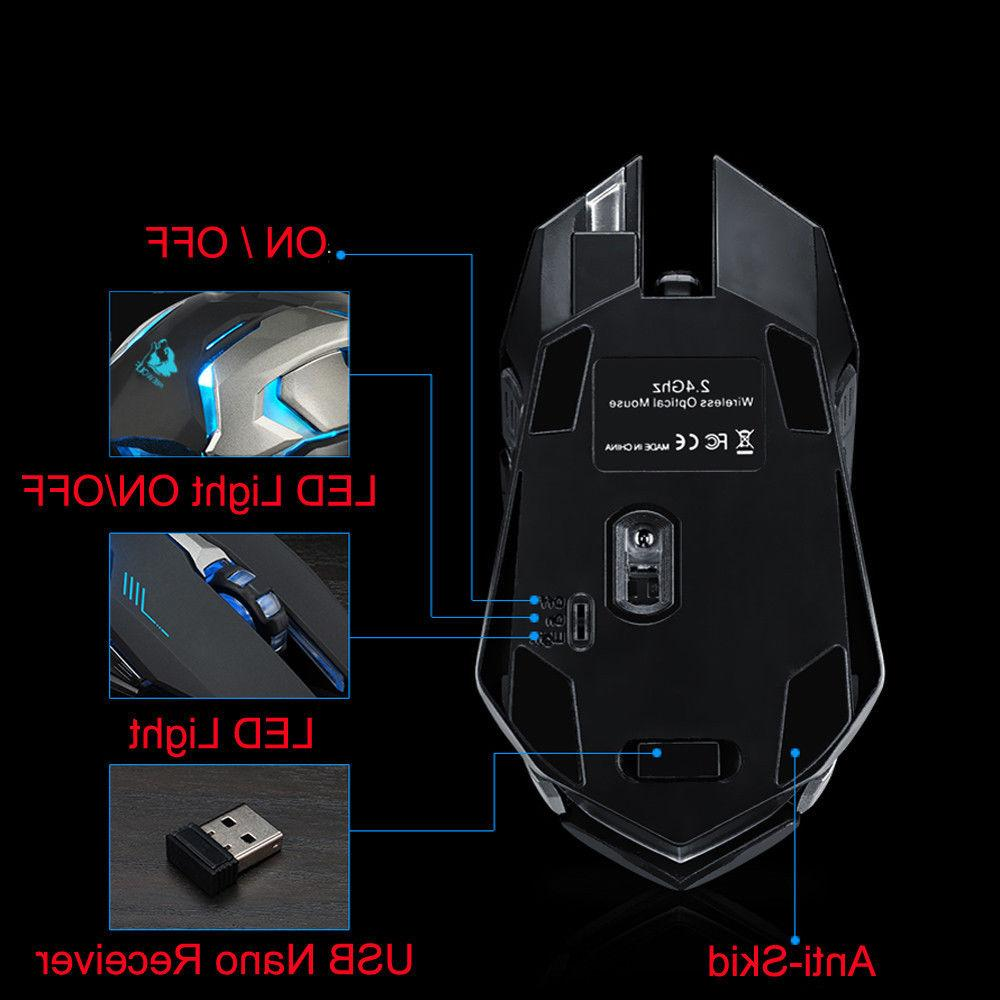 Rechargeable X7 Wireless LED Optical Ergonomic Mouse