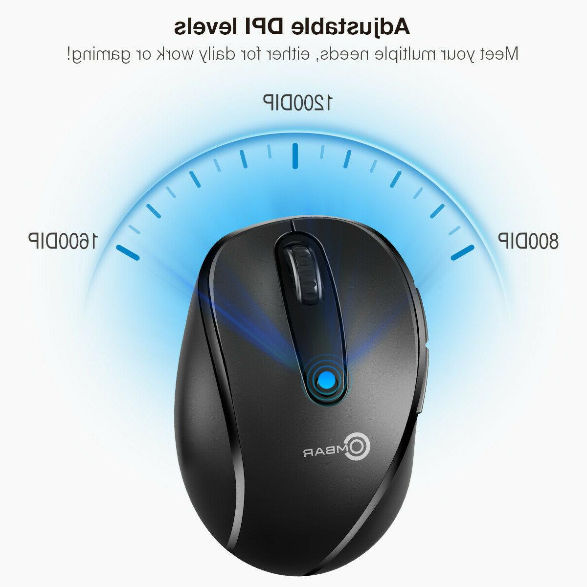 2.4GHZ 6 Buttons Wireless Mouse Optical Mice for PC Mac OS Tablets
