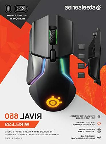 SteelSeries Wireless Mouse - Rapid Charging 12,000 CPI Optical Sensor - 0.5 Lift-off 256 Weight Configurations 8